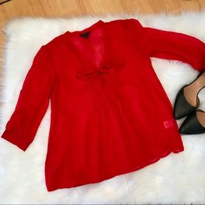 Banana Republic sheer blouse red size small